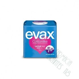 COMPRESAS TOCOLOGICAS EVAX COTTONLIKE NORMAL CON ALAS 16 COMPRESAS